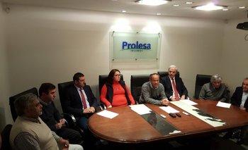 Autoridades de Prolesa y Conaprole en la presentación de la feria.