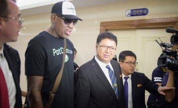 Rodman en su llegada a Pyongyang