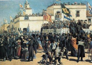 """Banderas inglesas, brasileñas, argentinas y uruguayas en la """"Jura de la Constitución"""", según Juan Manuel Blanes."""