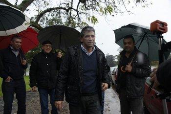 Raúl Sendic durante una recorrida por comités de base, el 25 de agosto de 2017