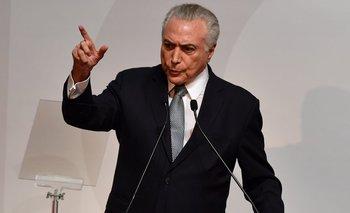 El presidente brasileño, Michel Temer.<br>