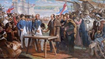 Artigas firma en 1817 un tratado de libre comercio con los ingleses para escapar del bloqueo de los portugueses y Buenos Aires. Óleo de José Luis Zorrilla de San Martín