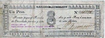 Billete del Banco Nacional o Banco de Buenos Ayres, que circuló en la Provincia Oriental a partir de 1825-1826 (Museo Numismático del Banco Central).