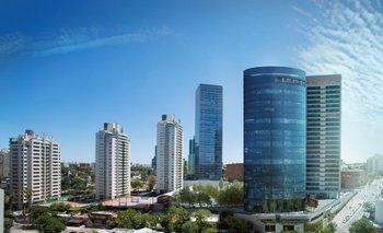 Proyección de la nueva torre en el entorno del complejo WTC en el barrio de Buceo.<br>