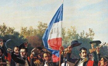 Juramento de los Treinta y Tres (fragmento), de Juan Manuel Blanes, con Lavalleja en el centro y Manuel Oribe, sombrero en mano, a su izquierda