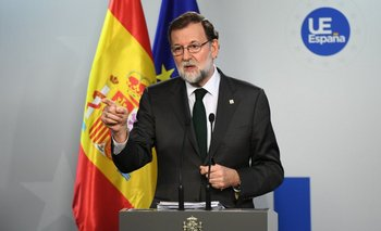 Rajoy habla en la conferencia de prensa de la reunión de líderes europeos.