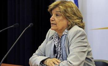 La ministra Eneida de León luego del Consejo de Ministros del lunes. (Foto Presidencia)<br>