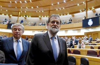 El presidente español Mariano Rajoy luego de una sesión del Senado en Madrid.<div><br></div><div><br></div>