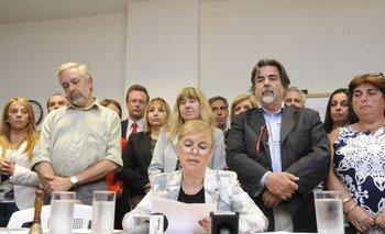 Los fiscales en conferencia de prensa, encabezada por Domenech.