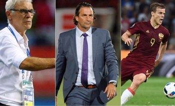 Héctor Cuper, DT de Egipto; Juan Antonio Pizzi, DT de Arabia Saudita y la estrella de Rusia, Alexandr Kokorin<br>