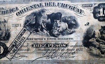 """<div dir=""""ltr"""">Uno de los primeros billetes emitidos por un organismo público en Uruguay, en 1875. Foto: gentileza de Juan Miguel Straumann</div><div><br></div>"""