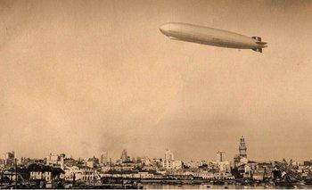 El Graf Zeppelin sobre Montevideo en junio de 1934, durante la era de Gabriel Terra.