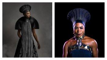 Ramonda, la reina madre de Wakanda (Angela Bassett) destaca por sus vestidos y por sus sombreros inspirados en la cultura zulú impresos en 3D.