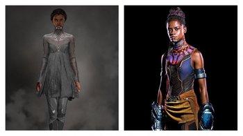 """Shuri, la princesa y genia adolescente de Wakanda combina tradición y modernidad con influencias """"occidentales"""" en un vestuario que cambia por prendas de combate hacia el final."""