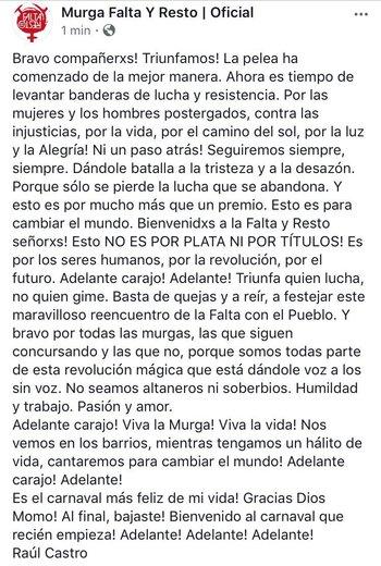 La carta publicada por Raúl Castro, el máximo referente de Falta y Resto.<br>