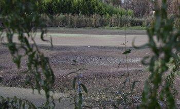 Uno de los tajamares que luce claramente el impacto de la ausencia de lluvias.<br>