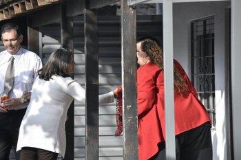 Michelle Suárez declarando este jueves en Atlántida