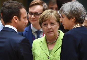 El presidente de Francia, Emmanuel Macron; la canciller alemana Angela Merkel y la primera ministra británica Theresa May