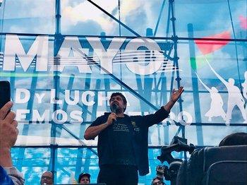 Andrade durante el acto del 1° de mayo