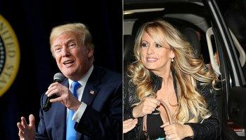 A la izquierda, el presidente de EEUU, Donald Trump. A la derecha, la actriz Stephanie Clifford, que utiliza el nombre artístico de Stormy Daniels.