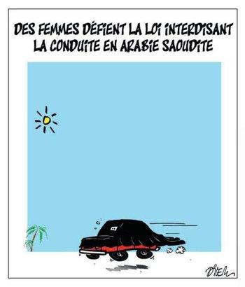"""""""Unas mujeres que desafían la ley que prohíbe conductoras en Arabia Saudita"""" presenta el argelino Dilem, a través de palabras e imágenes"""