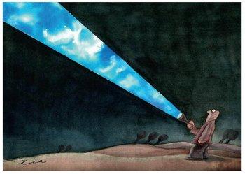 Esta sección de la muestra se enfoca en la denuncia de los cambios climáticos, como lo expresa el artista Lichuan (China) en esta imagen