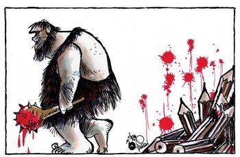 El ilustrador libanés Haddad y un dibujo que no deja dudas, la libertad de prensa se coarta con sangre y violencia