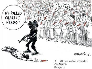 El atentado de Charlie Hebdo fue una de las últimas y más sangrientas represalias contra la prensa. Así lo muestra Zapiro (Sudáfrica).