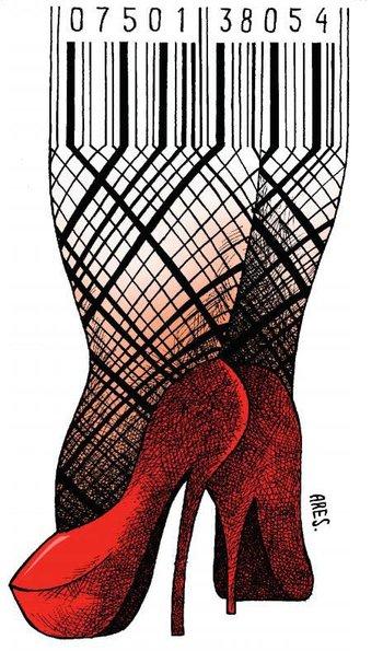 El cubano Ares presenta una ilustración sobre la mujer y su trato como mercancía