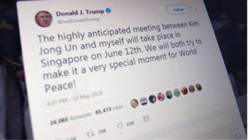 "This screen grab shows a tweet by US President Donald Trump as he announced on May 10, 2018 his historic summit with North Korean leader Kim Jong Un will take place in Singapore on June 12. ""We will both try to make it a very special moment for World Peace!"" Trump said in a tweeted announcement. The location and date of the summit -- the first ever between a sitting US president and a North Korean leader -- were revealed hours after three American prisoners were released by North Korea and arrived back in the United States. / AFP / Eric BARADAT"