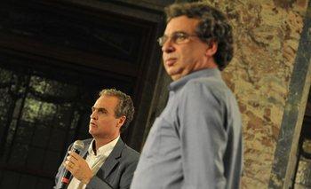 Renato Opertti y Fernando Filgueira en la presentación del miércoles