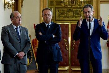 El jefe gobernante de España Rodríguez Zapatero en un momento de su visita a Venezuela