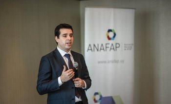 El presidente de Anafap Sebastián Peaguda durante la presentación realizada el martes.<br>