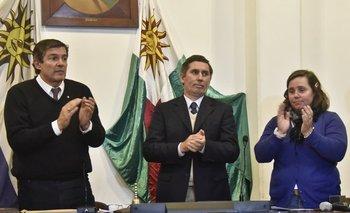Jorge Riani, Miguel Sanguinetti y María del Pilar Camy.<br>