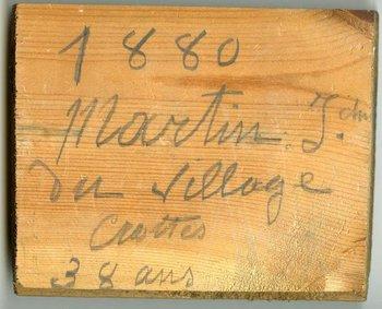 null1880. Martin J, del pueblo Crottes. 38 años de edadnull, firmaba el carpintero en uno de los tablones.