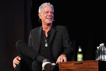 """(FILES) In this file photo taken on October 07, 2017 Chef  Anthony Bourdain speaks onstage   at New York Society for Ethical Culture in New York City.    Food author and travel host Anthony Bourdain has committed suicide while traveling in France, according to the television network CNN for which he took viewers around the world for his show """"Parts Unknown."""" He was 61. / AFP / GETTY IMAGES NORTH AMERICA / Craig Barritt"""
