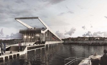 Una plaza elevada, un mirador y una cafetería completan la idea de las arquitectas.