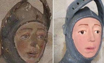 La escultura de San Jorge, antes y después de su intento de nullrestauraciónnull.