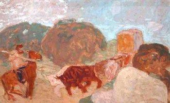 <i>La picana</i>, un óleo sobre cartón con medidas de 34 x 50 cm. del pintor Pedro Figari
