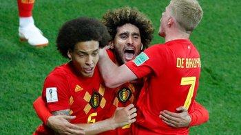Bélgica celebra su paso a cuartos de final del mundial de Rusia 2018.