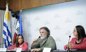 Alejandra Sarquis, Gonzalo Souto y Leidy Gorga en conferencia de prensa en el MGAP.
