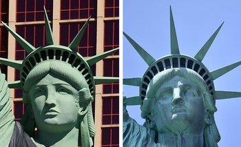 Confundir la Estatua de la Libertad de Las Vegas (izquierda) con la de Nueva York (derecha) hizo que un juez fallara en contra del Servicio Postal de Estados Unidos.