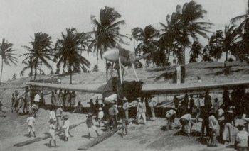 Aquel día, los residentes de Natal tenían sus ojos puestos en el cielo, esperando la llegada del Savoia-Marchetti S-64.