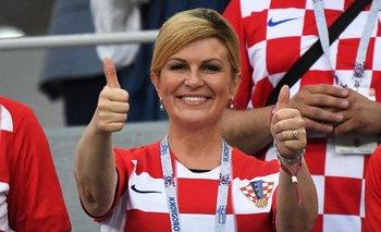 La presidenta croata en el partido contra Dinamarca