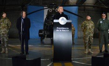 Desde Campo de Mayo, una de las bases militares más grandes del país, Macri anunció una nullnueva directiva de política de Defensanull. (FOTO: Casa Rosada)
