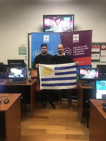 Giovanni Armentano y Milton Santos previo al viaje a Estados Unidos.<br>