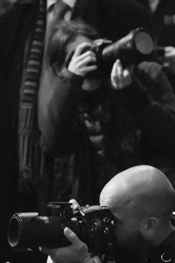 Fotógrafos durante un evento en el LATU.