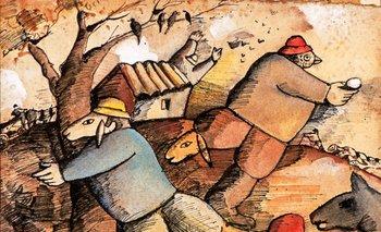 Kibutz, una tinta y acuarela firmada abajo a la derecha por José Gurvich, saldrá a subasta en Babastro