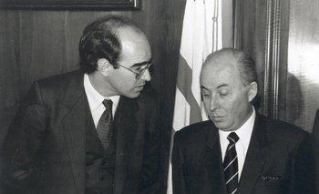 Javier de Haedo con el vicepresidente Gonzalo Aguirre a principios de la década de 1990.