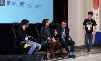 Federico Seineldin, Netta Wang y Nir Tsuk durante la apertura de la Semana de la Innovación.